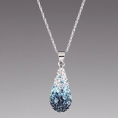 I NEED this necklace. NEED. Sterling Silver Fade Blue Tear Drop Crystal Pendant Necklace by Lenox