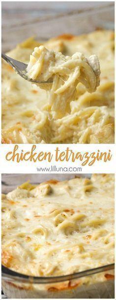 Easy and delicious Cheesy Chicken Tetrazzini - a family favorite dinner meal! { http://lilluna.com }