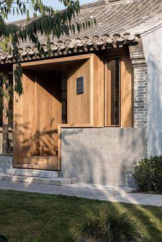*동네 작은 서점 리모델링 [ Fon Studio ] Spring Whispers Book Club in Beijing Modern Entrance Door, Entrance Design, Facade Design, Exterior Design, Interior And Exterior, House Design, Detail Architecture, Interior Architecture, Futuristic Architecture