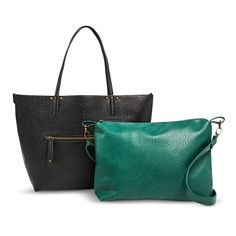 083e2737f4c8 Women's Two-in-One Tote with Removable Crossbody Handbag - Black/Green Black