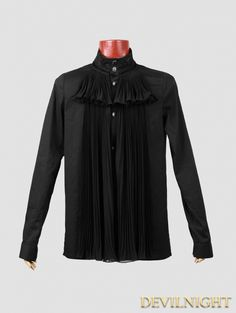 Black Cotton Long Sleeves Gothic Blouse for Men