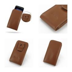 PDair Leather Case for Asus PadFone 2 - Vertical Pouch Type Belt clip included (Brown)