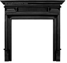 Belgrave Fireplace Surround Black Finish      Cast Iron     Available in Black finish     (version shown)     Suitable for all our cast iron insets Online Sale Price: £350.00 r.r.p: £517 saving: £167