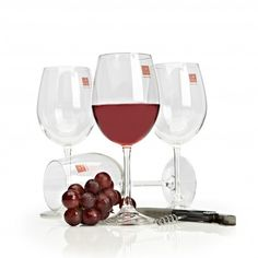 A timeless wine glass set containing four stemmed wine glasses, each capable of holding Christmas Glasses, Knife Block Set, Wine Glass Set, Holiday Looks, Champagne Glasses, Bakeware, Kitchen Gadgets, Wines, Red Wine