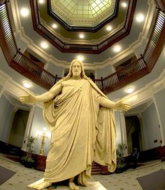 This is the two-story-high statue of Jesus in the lobby of the Johns Hopkins Hospital. All of the medical geniuses who enter and leave the building pass by him. The patients and their families, are comforted here, no matter what religion they may be. To see this in person is truly awesome.