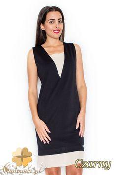 058a74cf30c80b CM2080 Sukienka bez rękawów z wstawką - czarna