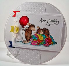 Love the colouring & the circle card. I would add some extra pennants to the side of the card, using more of the colours in the balloons. I would also remove the button as I feel it doesn't add anything to the card.