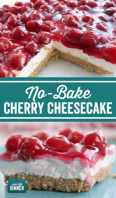 Easy No-Bake Cherry Cheesecake Dessert. Thirty minute dessert that is beautiful ., Desserts, Easy No-Bake Cherry Cheesecake Dessert. Thirty minute dessert that is beautiful and delicious. Super Simple recipe that anyone can make. Strawberry Cheesecake Bars, Easy No Bake Cheesecake, Baked Cheesecake Recipe, Cheesecake Desserts, Cherry Cheesecakes, No Bale Cheesecake, Unbaked Cheesecake, Cheesecake Bites, Classic Cheesecake