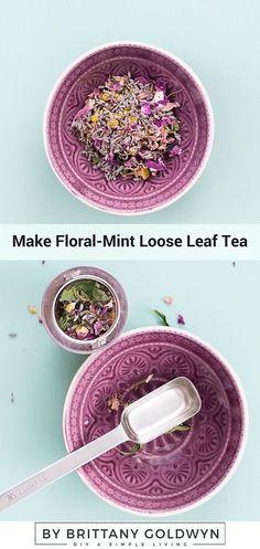 Floral-Mint Loose Leaf Tea Learn how to make this easy and refreshing floral-mint loose leaf tea!Learn how to make this easy and refreshing floral-mint loose leaf tea! Best Herbal Tea, Best Tea, Herbal Teas, Detox Cleanse For Weight Loss, Cleanse Detox, Homemade Tea, Peppermint Tea, Tea Benefits, Chamomile Tea