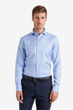 Hemd mit Webmuster in Blau