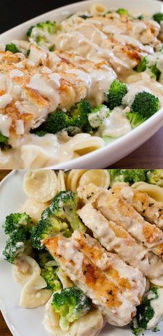 healthy food recipes chiken dinner cooking Easy, Creamy, Garlicky, Chicken and Broccoli Pasta Recipe Pasta Dishes, Food Dishes, Main Dishes, Food Food, Pasta Food, Pasta Recipes, Cooking Recipes, Recipe Pasta, Recipes Dinner