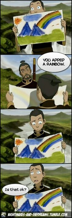 Yes, Sokka, its ok. avatar-the-last-airbender Zuko, Korra Avatar, Team Avatar, Legend Of Aang, Got Anime, Avatar Funny, Sneak Attack, Avatar Series, Avatar The Last Airbender Art
