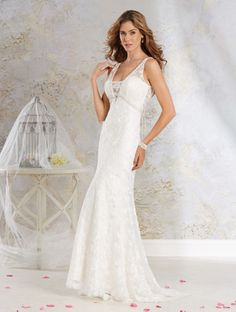 Alfred Angelo Style 8542: glamorous fit and flare lace wedding dress with soft charmeuse underdress