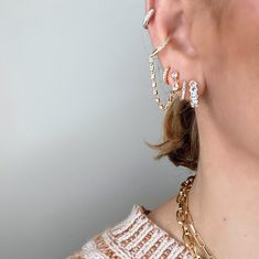 My vibe all day everyday Daria huggie 8.5mm simple pave Phoebe stud 6.5mm simple pave Serena ear cuff 6.5mm three rows pave Tap to shop or #linkinbio #GAjewelry #GAEarStories #EarStories #JewelryStories