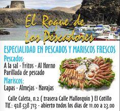 Restaurante el Roque del pescador, especialadad en Pescados (A la sal - Fritos - Al Horno-Parillada de pescado) y Mariscos (Lapas - Almejas - Navajas)