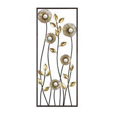 Metallic Flowers I Metal Plaque