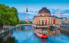 Download wallpapers Museum Island, Berlin, 4k, evening, river Spree, Germany