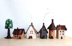 Miniature felt houses with tree Home decor. Textil art. par Intres, $35.00