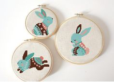 set of 3 Easter Sunday cross stitch pattern Modern cross stitch pattern Rabbit cross stitch, bunny cross stitch PDF Instant Digital Download