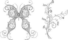 Vector Butterfly and Flower