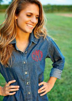 Hey, I found this really awesome Etsy listing at https://www.etsy.com/listing/208748207/monogrammed-denim-shirt-ladies-denim