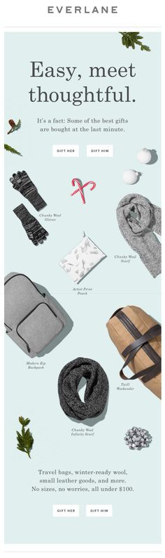 follow me @cushite Everlane Holiday Gifts email. SL: Our Easiest Gifts. Under $100.