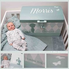 Hand painted wooden toy box with the child's name and with elements of the birth announcement card or other designs. A unique and personalized present for a birthday or baby shower!
