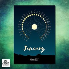 $5.55 Printable moon calendar 2017, minimalistic style calendar 2017, calendar of the moon, calendar moon, calendar with moon, moon phase calendar  use coupon CHRISTMAS324598 and get 10% discount