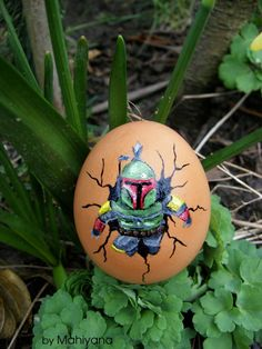 Boba Fett poping from Easter egg (Star Wars)
