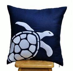 Navy Blue Pillow Cover, Decorative Pillow, Throw pillow, Navy Linen Pillow, White Sea Turtle Pillow, Nautical, Cushion Cover, Pillow Case