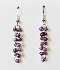 Purple Glass Beaded Earrings by Mysterydealmichelle  ~$8.99 FREE SHIPPING IN US~  www.facebook.com/mysterydealmichelle www.mysterydealmichelle.com