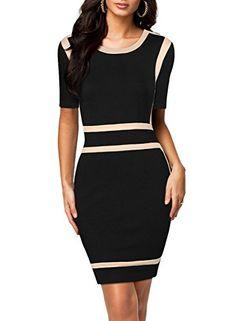 Miusol Mode Damen Office Ladies Black Bodycon Stretch Slim Rundhals Business Party Kleider