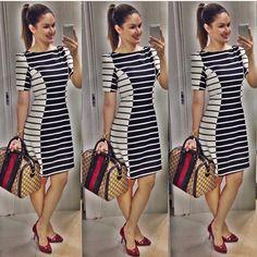 Vestido com listras preto e branco