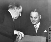 Ralph J. Bunche, director of the UN Trusteeship division (and former professor of political science at Howard University), was awarded the Nobel Peace prize (September 22, 1950) for successful mediation of the Palestine conflict. He was the first African American to receive The Nobel Peace citation.