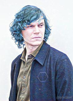 NEW | Fantastic Fan Art of Evan Peters, with his Blue Hair in AHS Cult! Follow rickysturn/evan-peters