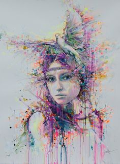 "Saatchi Online Artist: Lykke Steenbach Josephsen; Mixed Media, 2013, Painting ""Dove"""