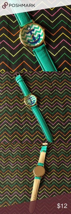 Fun Teal Anchor Watch Fun watch with a blue anchor design on the face and a golden toned edge. Bright teal faux leather band. One size fits most (teens-adults) as it adjusts. Bundle and save even more! :) Accessories Watches