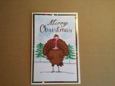 A6 card made with Hobby art stamps daryl the quirky  turkey