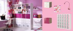 Estantería EXPEDIT blanca, accesorios de cajón blancos y accesorios de puerta rosas
