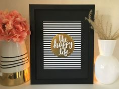 The Happy Life Framed Sign, x Gold Accent Decor, Happy Life, Great Gifts, Engagement, Signs, Wall Art, Frame, Etsy, The Happy Life