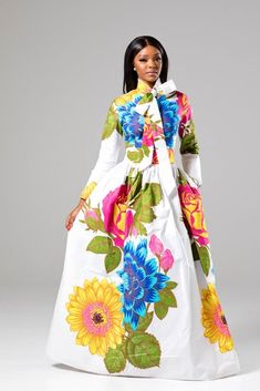 (PRE-ORDER, Ships 30 MARCH) Thalia White Floral Pussy-bow African Print Maxi Dress