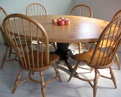 smooth old reclaimed pine table with pedestal base with American Windsor chairs