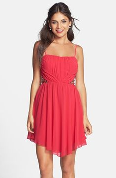 Free shipping and returns on Way-In Side Bead Pleat Dress (Juniors) at Nordstrom.com. Graceful pleats and sparkling bead detail on the bodice define a lovely, lightweight dress finished with a leg-baring hemline that gently slopes in front and back.