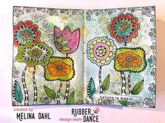 "198 gilla-markeringar, 10 kommentarer - Melina Dahl  (@minaskreativa) på Instagram: ""Art journal spread with new stamps from @rubberdance ✨ Release today with sale until 31st ✨ More…"""