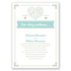 Floral Heart - Vow Renewal Invitation - Choose any 2 colors!