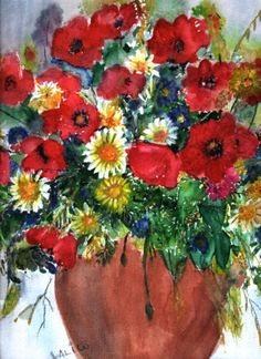 Poppies - Watercolour painting by Tjaša Kuerpick