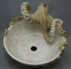 Octopus Sink Bowl Ceramic Sculpture. I know the man that makes these! his work is wonderful!