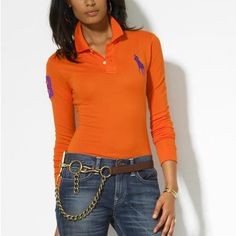Custom-Fit manches longues Polo Beta orange Ralph Lauren Jeans, Polo  Outfit, Juicy 092224a71665