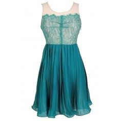 Lace and Pleated Chiffon Dress in Teal