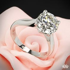 """stunning 2.227 ct J VS2 A CUT ABOVE® Hearts and Arrows Super Ideal Round Diamond set in our Platinum """"Legato Sleek Line"""" Solitaire Engagement Ring"""
